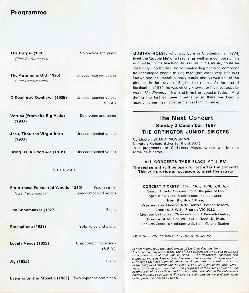 Programme for the first performance of The Harper