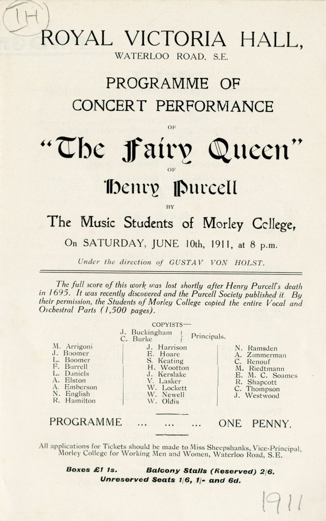 Programme Purcell Fairy Queen 1911