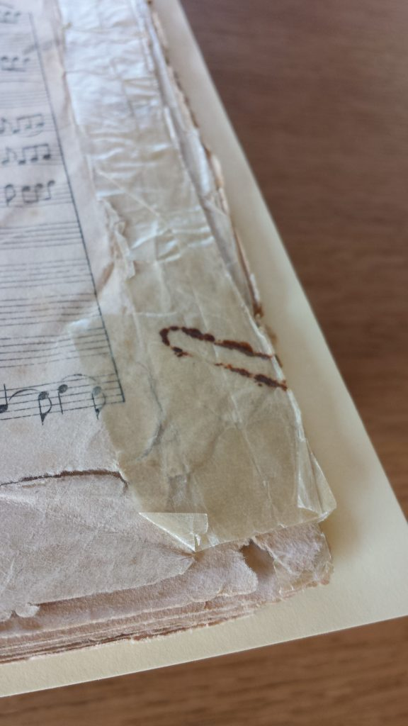 Damage to a manuscript caused by adhesive tape and rusting paper clip