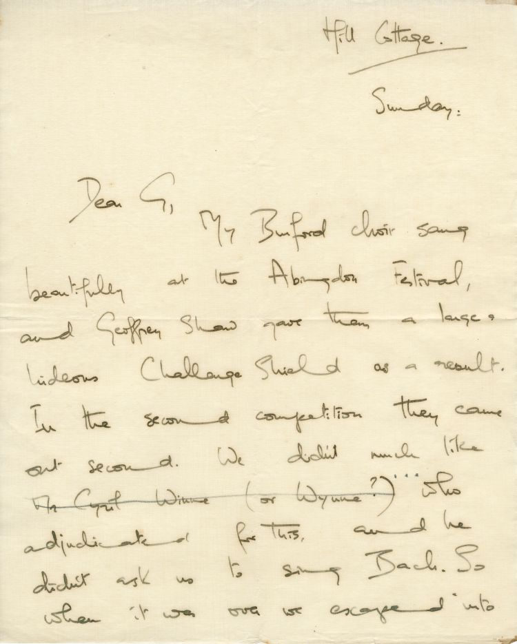 4. Letter from Imogen to Gustav, Summer 1933