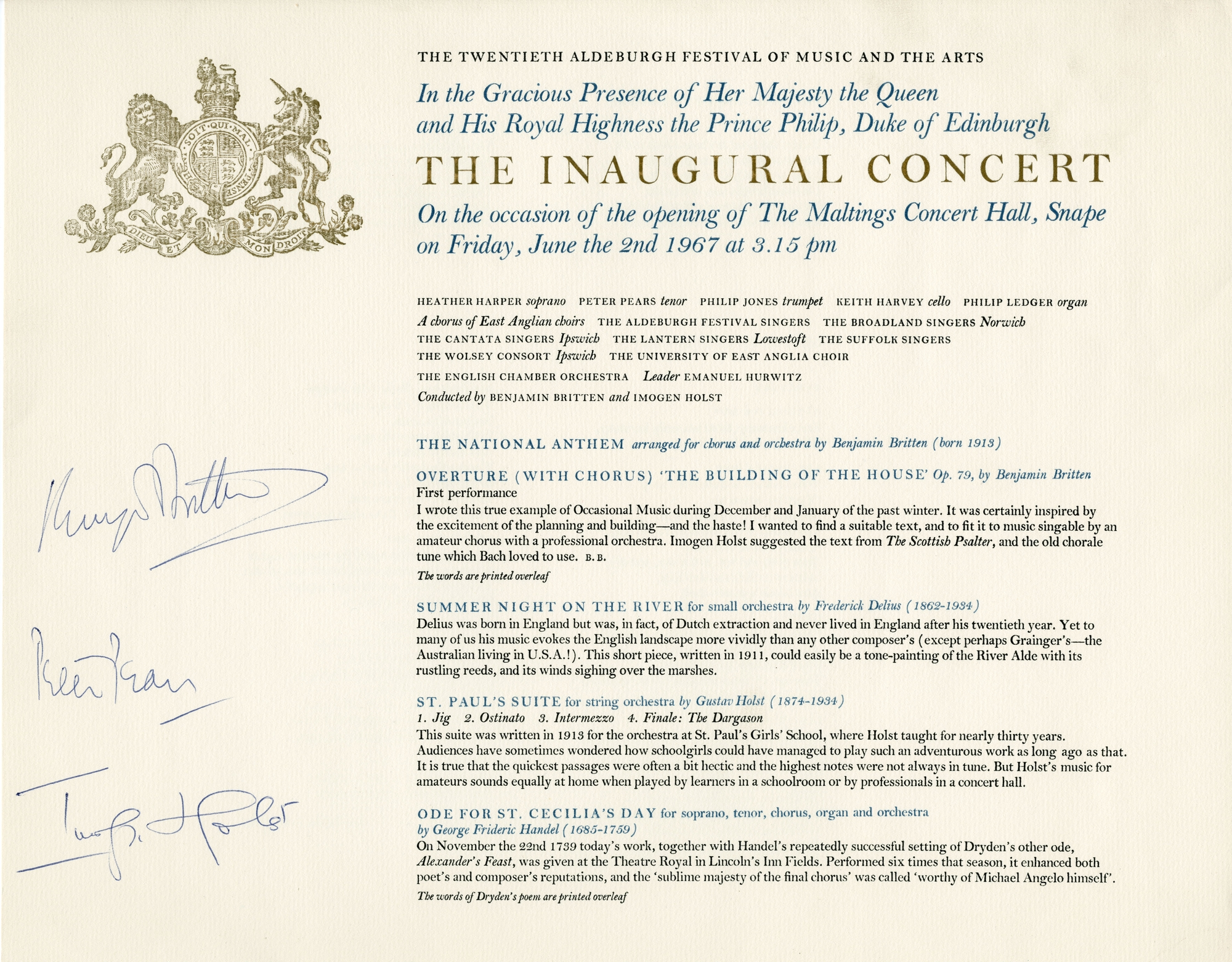 4. Programme for the inaugural concert of the 1967 Aldeburgh Festival celebrating the opening of Snape Maltings Concert Hall