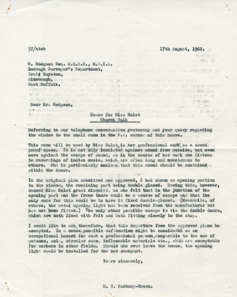 Letter Cadbury-Brown to Hodgson