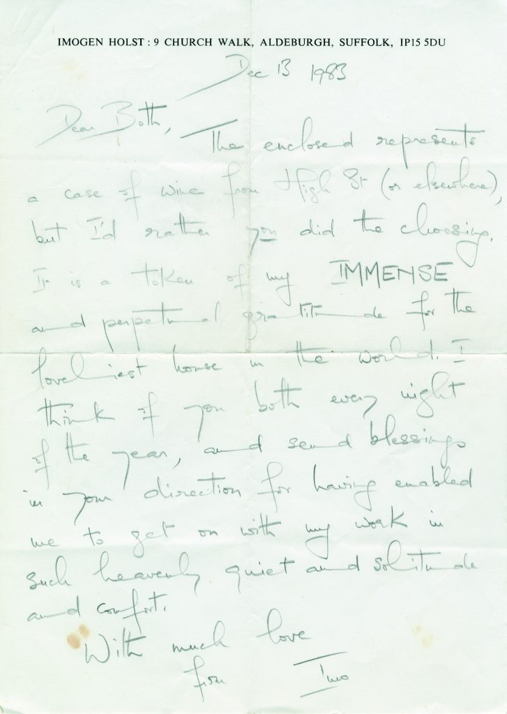 Letter IH to CB 1983