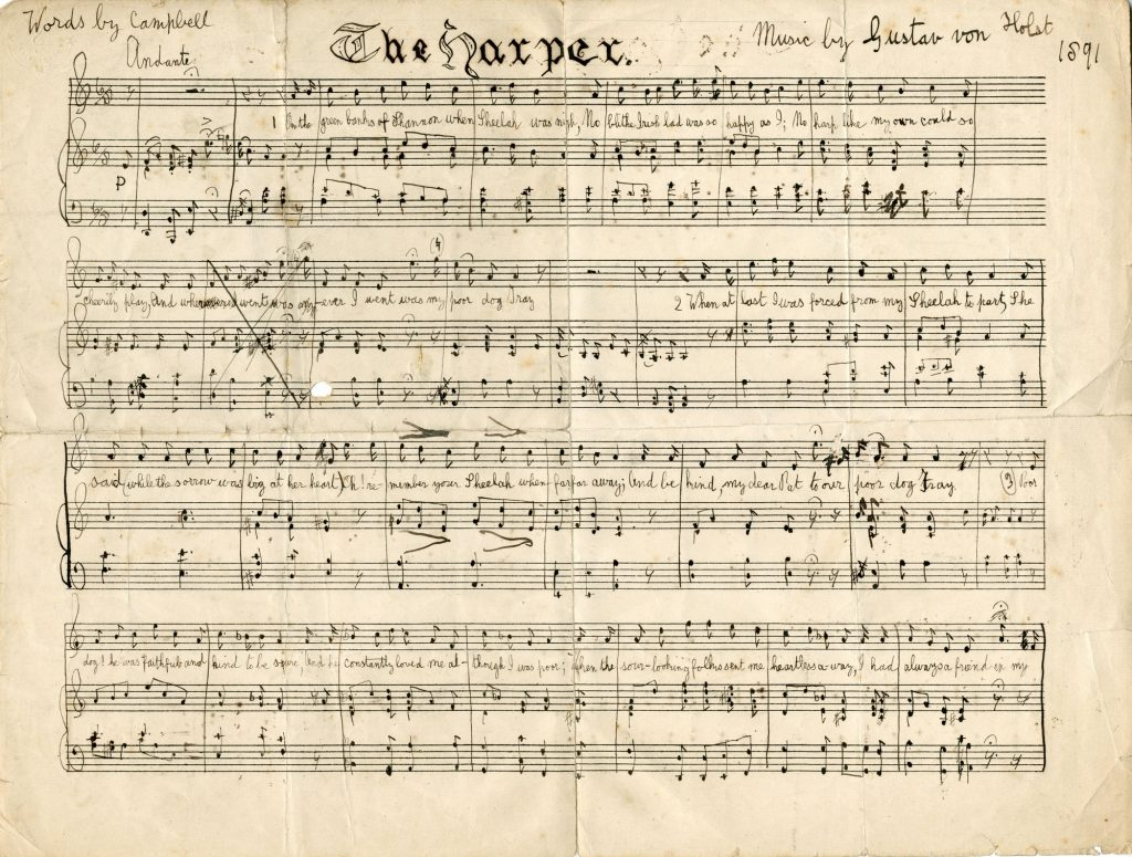 Manuscript for The Harper for voice and piano by Gustav Holst, 1891