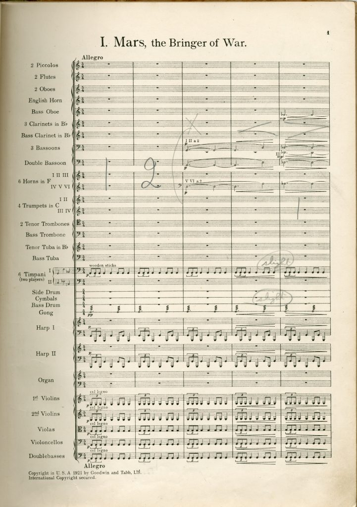 1. Gustav's conducting score of The Planets